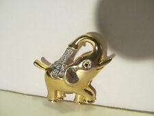 Elephant Pin or Brooch Gold Tone w/Crystals. Trunk is up. Sign of good luck.