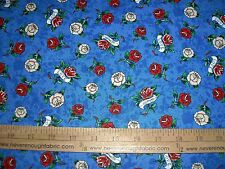 Cotton Fabric ED HARDY LOVE IS TRUE Flowers Roses True Love on BLUE  BTY
