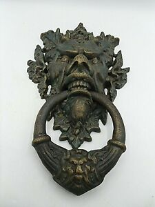GARGOYLE DOOR KNOCKER IN GILDED VERDIGRIS PATINA ~ CAST IRON Nice vintage 15""