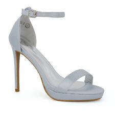 Womens Bridal Heel Satin Sandals Ladies Platform Ankle Strap Party Prom Shoes