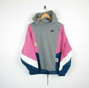 Nike Womens Icon Clash Pannelled Pink Grey Oversized Hoodie Sweatshirt Size S