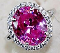 5CT Pink Sapphire & Topaz 925 Sterling Silver Ring Jewelry Sz 8, M2