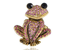 Antique Gold Tone Lilac Purple Pink Crystal Rhinestone Curious Frog Toad Ring