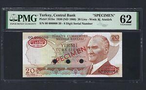 Turkey 20 Lira ND(1966) P181bs Specimen TDLR Uncirculated Graded 62