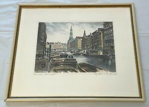 Albrecht Bruck 1874-1964 Framed Color Etching Hamburg Reimersfleet Bridge Boats
