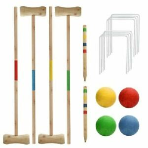 NEW 4 PLAYER CROQUET SET COMPLETE WOODEN KIDS GARDEN GAME BALLS HOOPS 4 MALLET