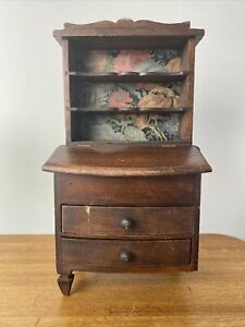 """16"""" Antique Doll Hutch Wood Furniture Wallpaper Backing 2 Drawer Open Top"""