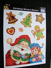 Grande glitter natale finestra adesivi-SANTA & Gingerbread Decorazione a basso costo