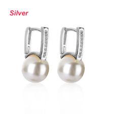 Women Bridal Jewelry Zircon Ear stud Hoop Earrings 18K Gold Filled Pearl