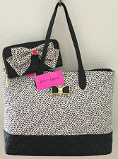 Betsey Johnson Quilted Hearts Spotted Black Bone Shopper Tote Bag & Wallet NWT