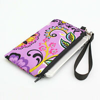 iPhone 7 Plus Purse Samsung Galaxy Phone Wallet Padded - purple turquoise floral