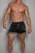 MEN'S SHINY BLACK SATIN SOCCER SHORTS MEDIUM