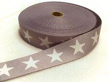 Gurtband in grau mit großen weißen Sternen  30 mm