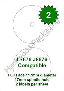 2 CD  / DVD Labels per Sheet x 50 Sheets White Matt Labels