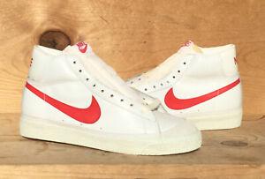 Vintage 1980 Nike Blazer Leather Hi-Top White/Red Legend Dynasty Size 8 Read Ad