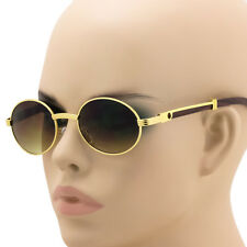 Elite Mens CLASSY Style Wooden Print Oval Gold Frame Vintage Fashion Sunglasses