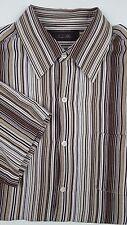 TASSO Elba LARGE Shirt SILK Linen MULTICOLOR Striped BUTTON Front BROWN Beige L*