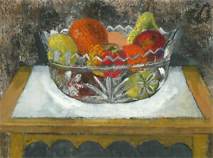 Anne Williams - 20th Century Acrylic, Crystal Bowl of Fruit