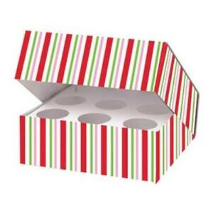 Christmas Candy Cane Stripe Cupcake Box