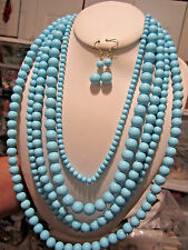 Five Layers Blue Turquoise Lucite Bead Necklace earring Set