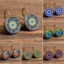 Boho Flower Butterfly Earrings Women Retro Pattern Round Drop Dangle Jewelry NEW