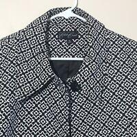 Eden Court Womens Coat Women's Size Medium Floral Black & White Lined  NWOT