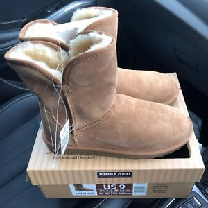 KIRKLAND SIGNATURE LADIES SHEARLING BOOTS IN CHESTNUT - SIZE UK 7 / EURO 40.