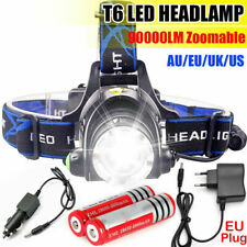 Zoom Rechargeable T6LED Head Torch Light Headlamp Flashlight Lamp Waterproof Kit
