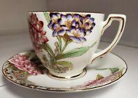 Vintage Melba Demitasse Spring Flowers Bone China Cup & Saucer