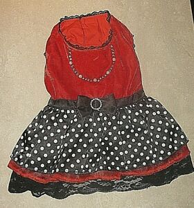 POOCH OUTFITTERS PEPPERMINT RED VELVET BLACK RHINESTONE LACE DOG PARTY DRESS XL