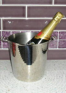 VINTAGE 50's CHROME CHAMPAGNE COOLER/ICE BUCKET FACETED SURFACE - HEAVY/ QUALITY