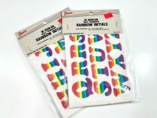 Vintage Penn Rainbow Initials Alphabet Iron-On Heat Transfers - 2 sets NEW
