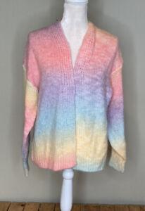 debut women's wool open front cardigan sweater Size M Pastel rainbow