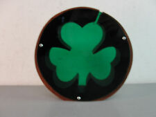 CREATIVE BANKERS WOOD GREEN LUCITE IRISH LUCKY 3 LEAF CLOVER COIN CHANGE BANK