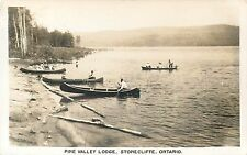 ONTARIO CANADA REAL PHOTO POSTCARD - PINE VALLEY LODGE 1953 CANOES VINTAGE VIEW
