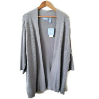 Liz & Me Plus Size 3X Cardigan Silver Sparkle Knit NWT