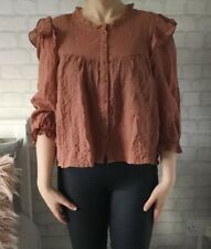 Zara Rust Top Blouse Ruffle XXL NEW  Long Sleeved Button Front Crinkle Victorian