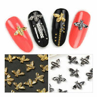 10pcs Gold Silver Bee Design Alloy Charm 3D Sticker Nail Art Tips DIY Decoration
