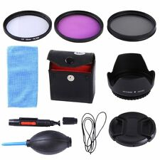55MM UV CPL FLD Filter Kit + Lens Hood & Cap For Sony A55 A65 A77 A57 DT 18-55mm