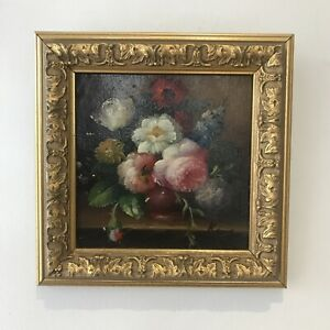 Original Miniature Oil Painting Antique Flowers In Gold Gilt Frame - Signed