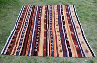 Cappadocia Hand Knotted Kilim Area Rug Vintage Ethnic Turkish Wool Carpet 5x7 ft