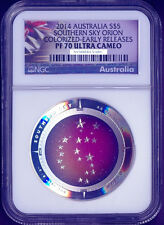 2014 1Oz Silver Domed Constellation Orion $5 Coin NGC PF70 SOUTHERN SKY ER label