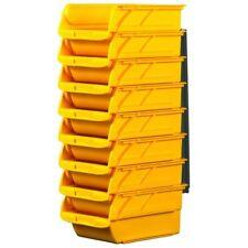 Stanley Plastic Stackable Garage Storage Bins w Hangers Small Bins Organizer 8Pc