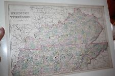 Bradley's 1887 County Map of Tennessee and Kentucky Hand Colored Antique