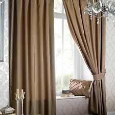 Just Contempo Faux Silk Eyelet Lined Curtains, Latte Brown, 66 x 72-Inch