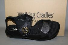 NEW Women's Walking Cradle Lucky Black Leather Comfortable Sandals