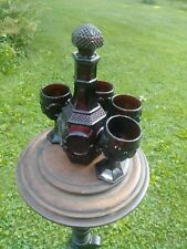 Avon Cape Cod 1976 Ruby Red Wine decanter With 4 Wine Glass