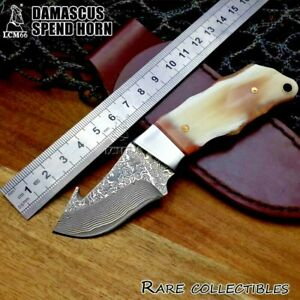 Handmade Drop Point Knife Hunting Combat Tactical Damascus Steel Horn Handle Cut