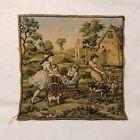Vintage Tapestry, Children, Goats, Dog, Green, Gold