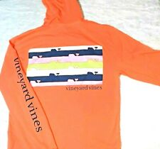 Vineyard Vines Womens T-Shirt Size Xs Whale Lax Hooded Tee Lacrosse Orange Pink